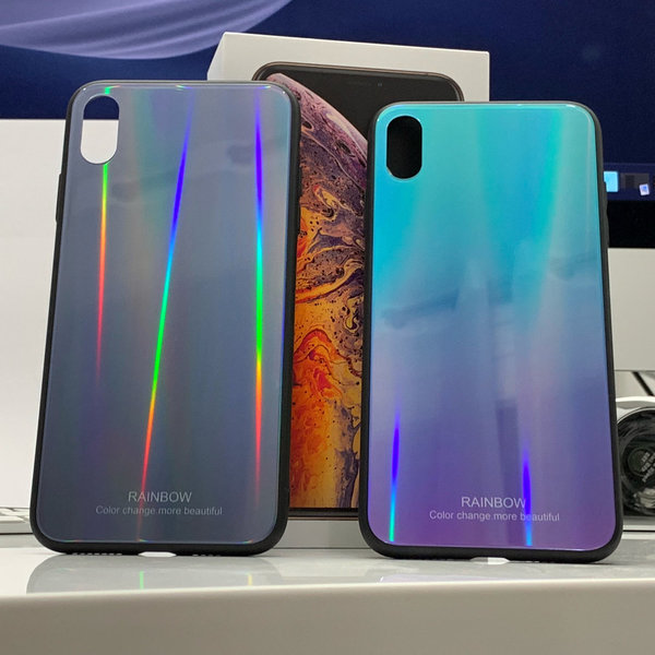 Apple iPhone X XS Max Case Tempered glass Ultra Slim Cover Hülle bunt